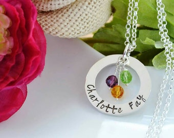 Personalised silver necklace Hand Stamped chunky sterling silver washer family necklace UK