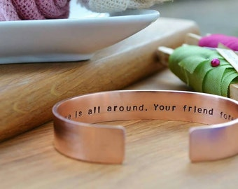 Mens copper Cuff bracelet personalised unisex bangle daddy