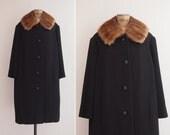 1960s Coat - Vintage 60s Mink Collar Coat - Recoletos Fur Collar Coat