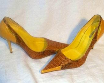 Golden Yellow Croc Pumps - Michael Antonio - Court Shoes - Stiletto Heel - Size 6 1/2 - Near Mint
