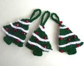 Crochet Christmas tree ornaments set of 3 red white and green xmas gift tags