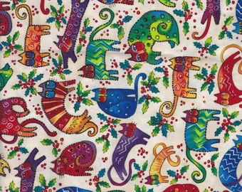 Laurel Burch Feline Holiday Collection Cat Fabric by Clothworks on White Retired Out of Print FQ