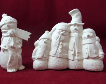 Christmas Ready to Paint Ceramic Snowman Set, one group of four and one single snowman, 6.5 inches
