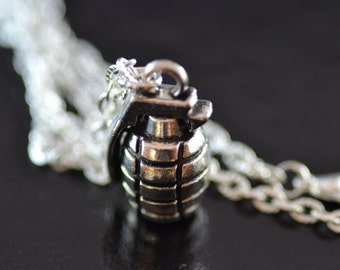 Grenade Necklace, NG015, Bruno Mars, Camo, Army, Bomb, Goth, Weapon