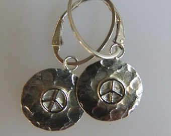 Peace To The World Yoga Earrings Sterling Silver Hammered Peace Charm Earrings On Oval Sterling Leverbacks