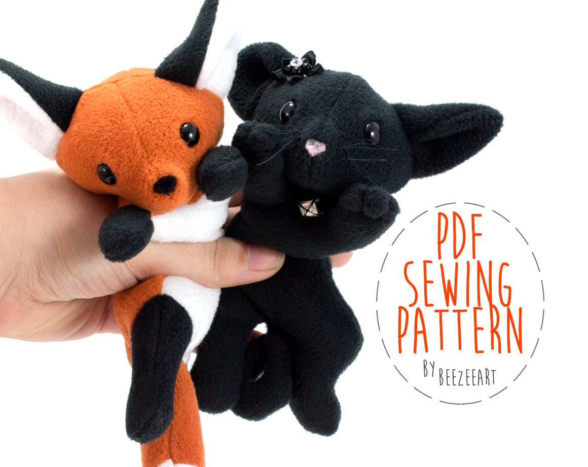 Fox and cat stuffed animal sewing pattern plush toy for Sewing templates for stuffed animals
