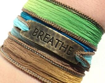 Silk Wrap Bracelet - Breathe - Boho - Wrap Bracelet - Jewelry - Silk Ribbon Wrap -Yoga - Zen - Bracelet - Hippie Jewelry - Gift For Her