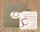 Custom Coasters -Optional Craft Envelopes & Matching Sealing Stickers -Bachelorette Party Invitation - Wine Stain Glass Ring