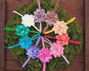Tropical Zinnia Fabric Flowers on Headbands Set
