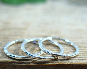 8mm 18g Circles Connectors Sterling Silver Set of 3 Rings - Handmade Circles, DIY Jewelry, Wholesale Jewelry, Circle Pendant, Charm