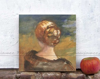 MIRROR. Fine Art on wood.  Small Art Print of a Tempera Painting. Wall Art of a Woman in Natural Colors.