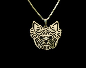 Yorkshire Terrier - gold pendant and necklace.