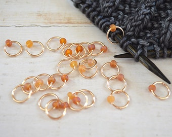 Topaz / Knitting Stitch Markers - Dangle Free Snag Free Knitting Stitch Markers - Small Medium Large Sizes Available