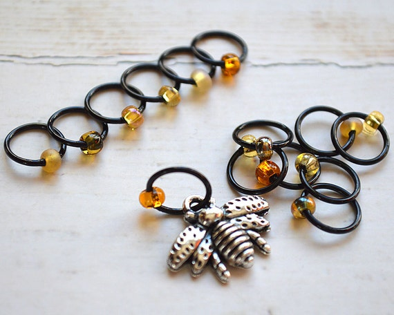 Honey Maker / Knitting Stitch Marker Set / Small Medium Large Sizes Available