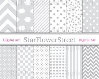 Gray, Digital Paper, Baby, Boy, grey, scrapbook, star, chevron, pale, soft, checkered, polka dot, cloud, stripe, patterns,printable,download
