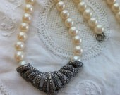 Choker faux pearl and marcasite vintage design