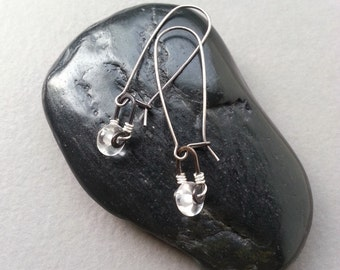 Sterling Silver Handcrafted Glass Dangle Earrings Clear Lampwork Glass Beads Artisan Dangle Setting Modern Minimalist Sophisticated Elegant