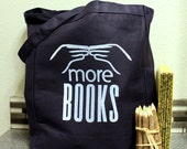 Large Canvas Tote Bag NAVY, More Books Library Tote Bag