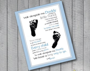 Digital Walk with me Daddy Poster (8x10) Personalize with your child's footprints!