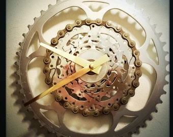 Wall Clock, Industrial Decor, Steampunk Bicycle Wall Art, Cycling Wall Clock, Groomsman Bike Gift Idea, Modern Silver Metal Wall Clock