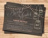 Wedding Shower Invitation. Bridal Shower Invitation. Shower Invite. Printable Invitation. Wood Rustic Invite. Mason Jar Wedding. DIY Wedding
