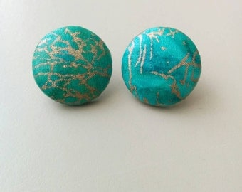Turquoise & Metallic Gold Print Fabric Button Earrings