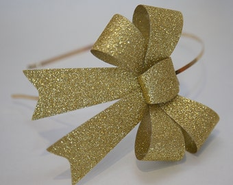 Gold Glitter Bow Headband