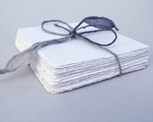 White 4x4 handmade paper cardstock, recycled, deckle edge, 10 sheets