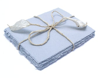 Light blue handmade paper, recycled, deckle edge, 10 small sheets, 5.5 x 4.25 inch