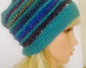 Ooak unique womens designer hand knit hat rainbow multi with Noro wool yarn beanie slouch hat,rainbow festival hat,irish handmade,hippie