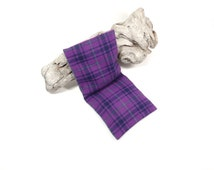 Warm cool eye pillow Purple plaid Checked flannel washable cover Flax seed filling Scent free