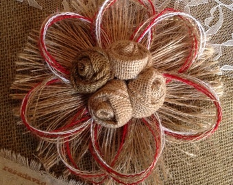 Rustic Burlap Rosette Flower - Choose Accent Color