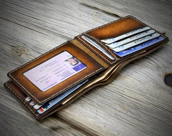 mens leather wallet, leather wallet handmade in Italy, ID window pocket wallet, Handstitched wallet, Custom men wallet, genuine leather