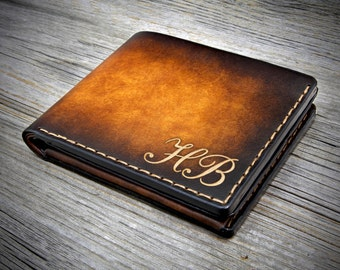 04 FREE Initials Genuine Leather Wallet with Coin Pocket / Monogrammed Leather Wallet for him / Bifold Wallet / Personalized Leather Wallet