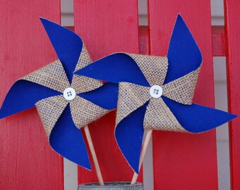 Royal Blue Rustic Burlap Pinwheel Wedding Decoration