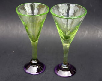 Blown Glass Martini Glasses Captured Bubble Hand Made Lime Green Violet Purple OOAK Thick Art Glass Barware