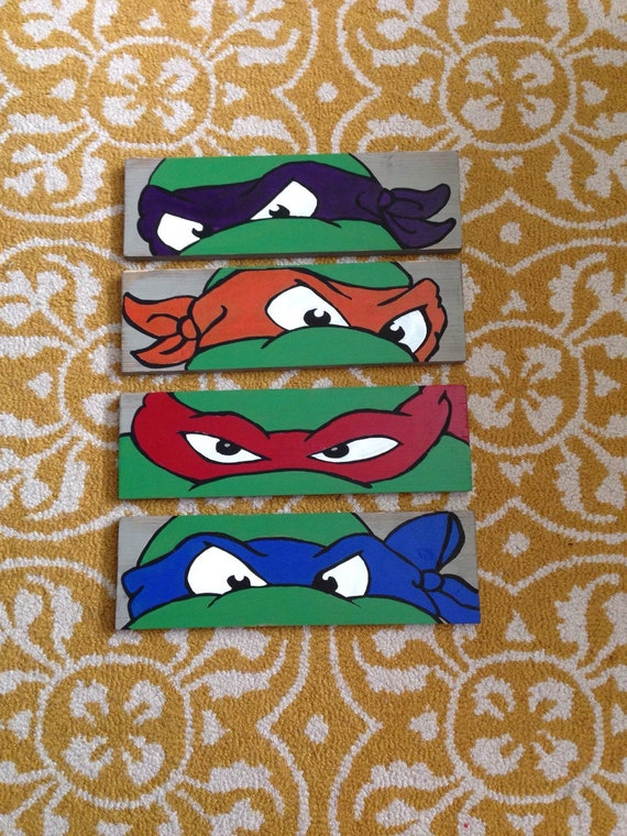 Ninja Turtle Wall Art By Vintagechiccreation On Etsy