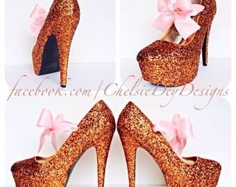 Orange Glitter Pump High Heels with Light Pink Satin Bows