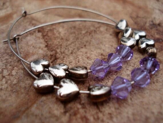 Sterling Silver Hoop Earrings, Sterling Silver Earrings, Silver Earrings, Gift For Her, Big Hoop Earrings, Crystal Hoop Earrings, OOAK