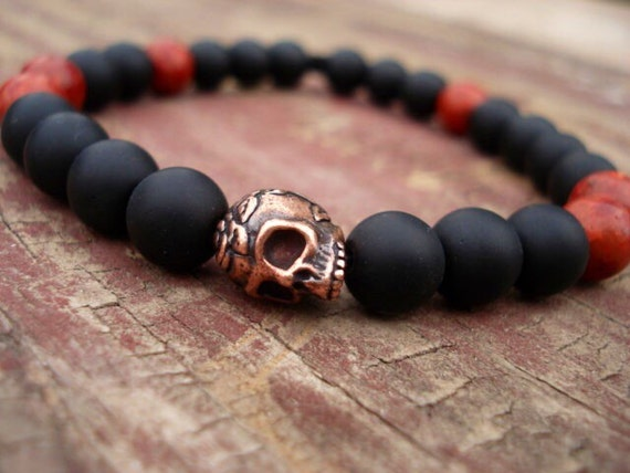 Onyx Bracelet, Red Coral Bracelet, Black Bracelet, Skull Bracelet, Beaded Bracelet, Stackable Bracelet, Goth Bracelet, Men Jewelry