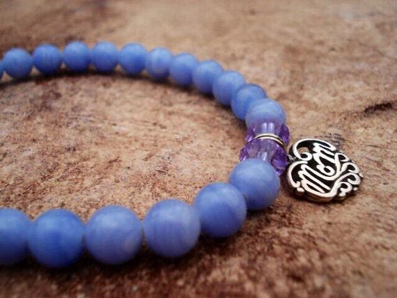 Blue Lace Agate Bracelet, Swarovski Crystal Bracelet, Sterling Silver Mom Charm Bracelet, Gemstone Bracelet, Women's Beaded Bracelet