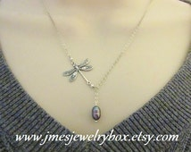 Silver dragon fly and freshwater pearl lariat