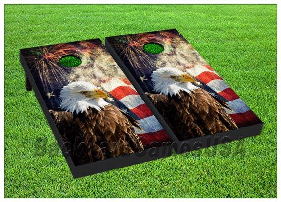 Patriotic Cornhole Boards With Bags Usa American Flag Eagle