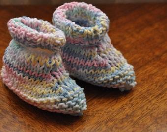 Hand knitted toddler size slipper socks, multi-pastel