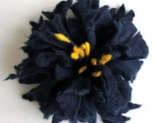 Felt  Navy Blue Yellow  Unique Felted Flower Brooch Handmade Merino Wool High Fashion