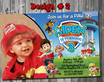 Paw Patrol Photo Birthday Invitation Boy 1 2 3