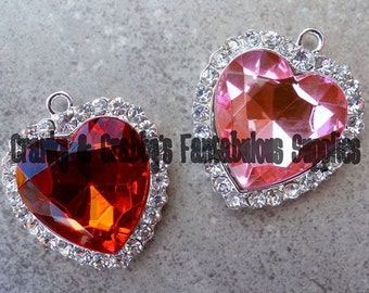Large Faceted Crystal Heart Pendant - Chunky Necklaces - 41mm x 35mm Pink or Red