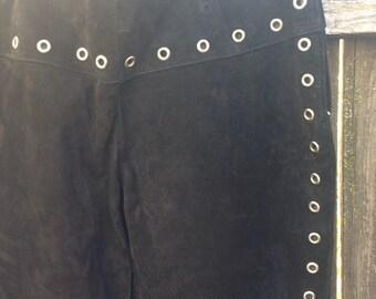 Vintage Suede Grommet Pants