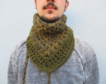 Sage green Scarf, Scarf neckwarmer, Neckwarmer, Crochet scarf, Woven scarf - Accessories Her Him Collection