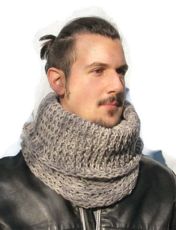 Mens Cowl Knitting Pattern : Hand Knit Mens Cowl Mens Neckwarmer Hand Knit Cowl by KrissWool